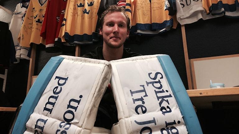 Magnus Åkerlund, målvakt i Sundsvall hockey, efter avslutad träning. Foto: Christer Jonasson/SR