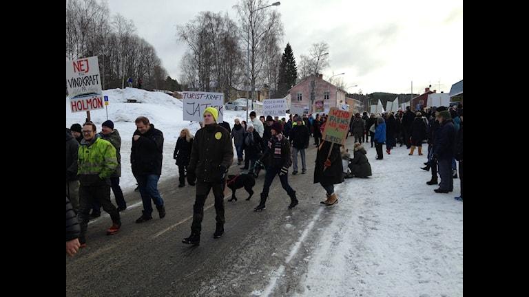 Demonstration mot vindkraft i Ramsele. Foto Victor Åsberg SR