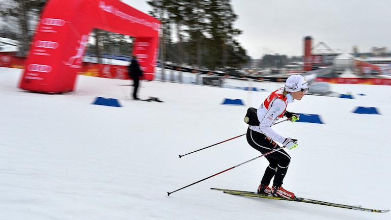 sprintåkarnas träning på VM-banan på Lugnet i Falun. Skid-VM Falun 2015. Foto: Anders Wiklund/TT