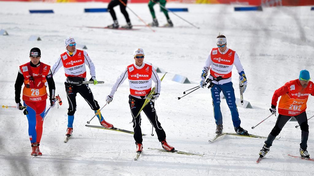 Johan Olsson, Marcus Hellner och Calle Halfvarsson tränar i VM-spåren i Falun. Foto: Anders Wiklund/TT