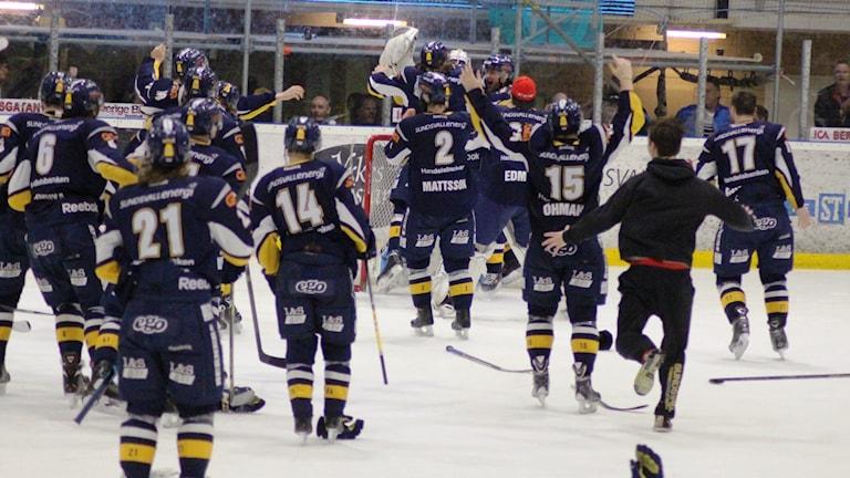Viltjubel efter slutsignalen. Där Sundsvallsspelarna firar avancemanget till Hockeyallsvenskan. Foto: Carl-Johan Höiby