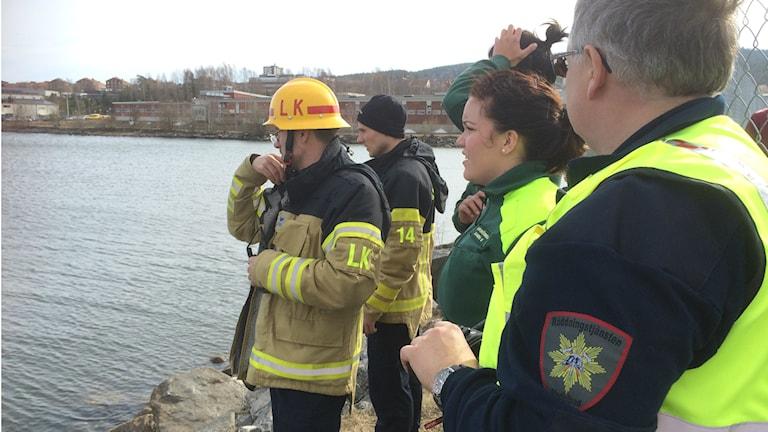Räddningstjänsten står vid vattenbrynet. Foto: Annelie Ledin/SR