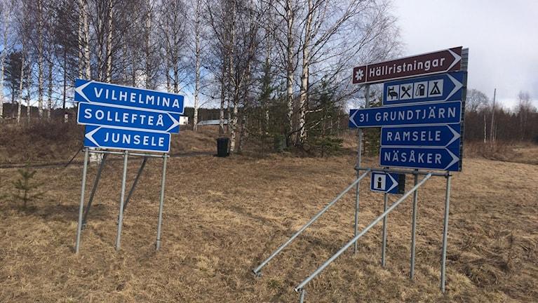 Flera vägskyltar med ortsnamn i Sollefteå kommun. Foto Ulla ÖHman