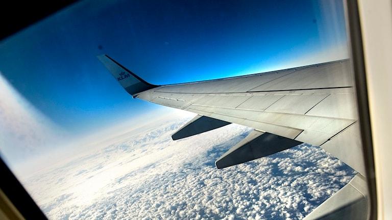 Flygplansvinge fotograferad i luften. Foto: Dan Hansson/TT