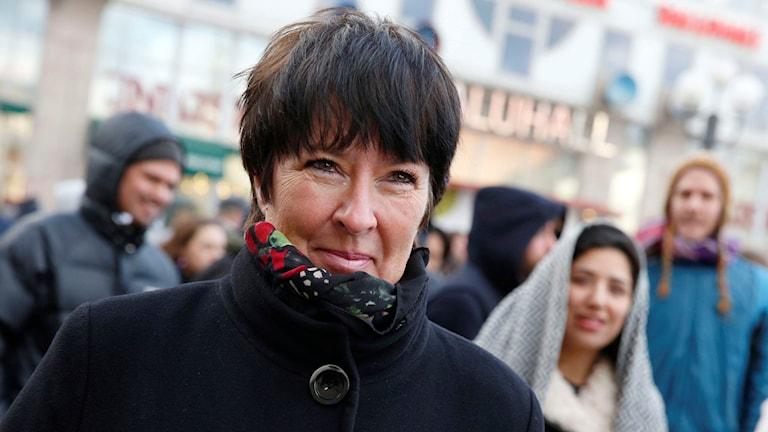 Mona Sahlin vid en demonstration mot nazism på Medborgarplatsen i Stockholm. Foto: Fredrik Persson/TT