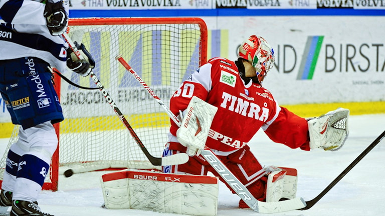 Timrå IKs målvakt och en spelare från Leksand, bild från 2013. Foto: Robin Nordlund / TT