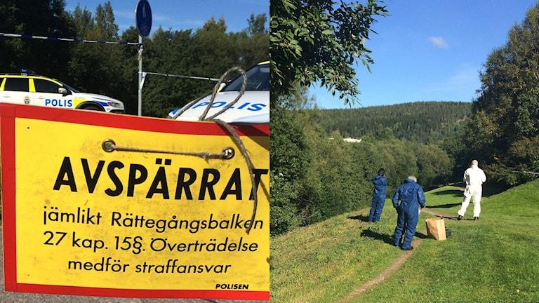 Stora avspärrningar och brottsplatsundersökning. Foto: Anna Ahlström/SR