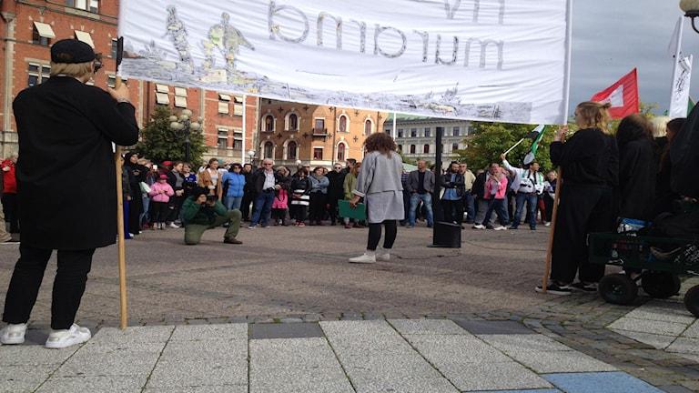 Manifestation Refugees welcome i Sundsvall.