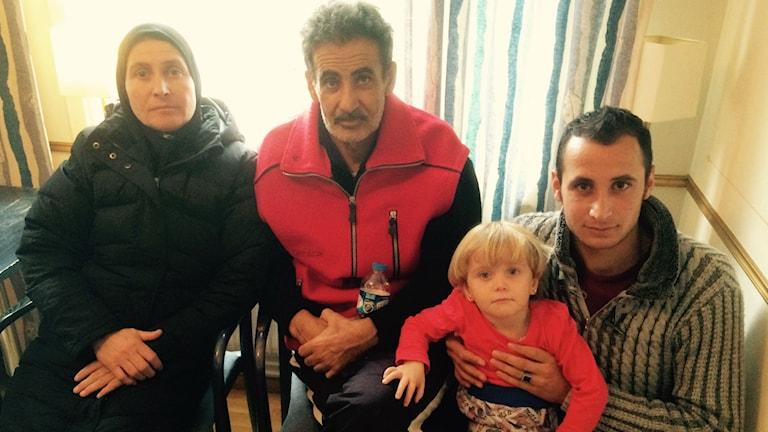 Flyktingfamilj från Syrien.