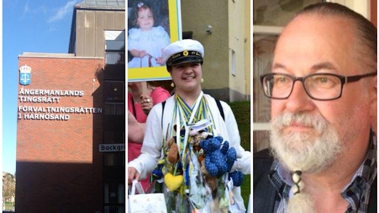 Förvaltningsrättens dom innebär att Härnösands kommun måste fatta ett nytt beslut om Fridas boende. Foto Ulla Öhman/SR samt privat (mittenbilden)