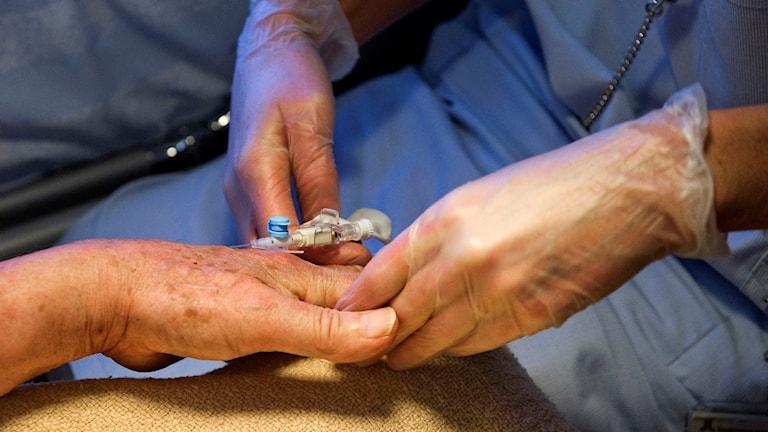 Vårdpersonal behandlar en patient på en vårdavdelning. Foto: Bertil Ericson/TT