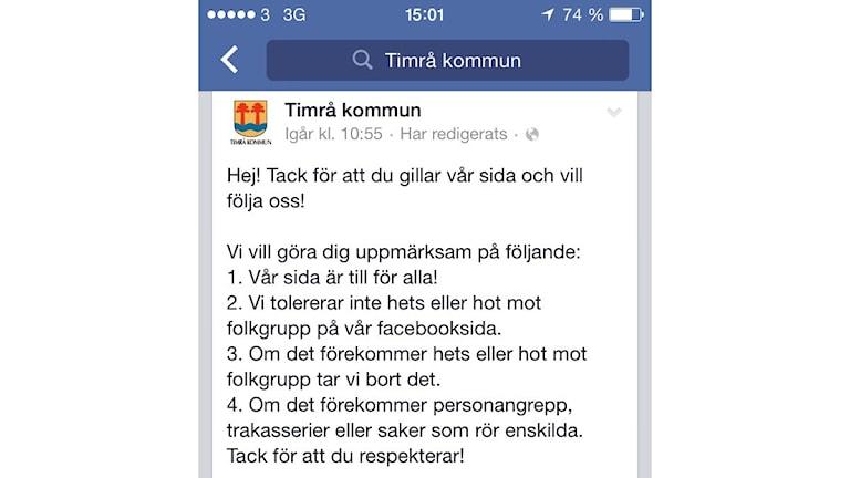Timrå kommuns facebooksida.