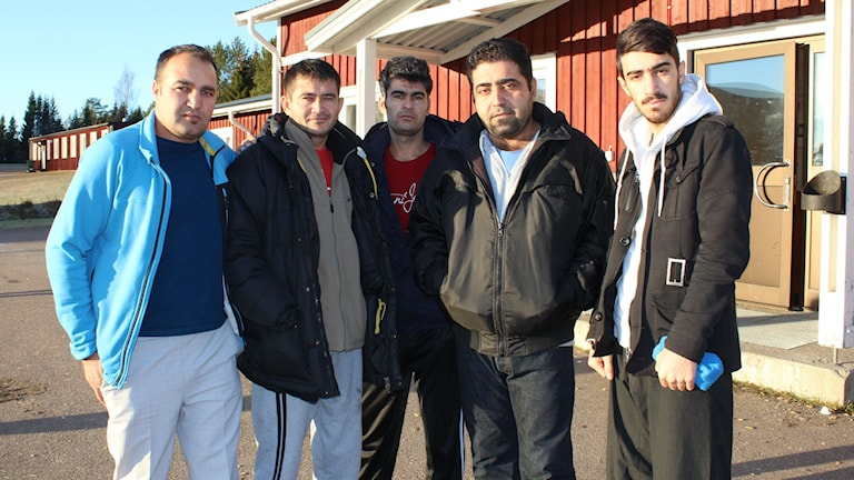Flyktingarna Eskandar Mohamadian, Hoomayon Yama, Davood Mahammadi, Faroq Rahmani och Younes Yadegari på Åstöns flyktingförläggning i Timrå.