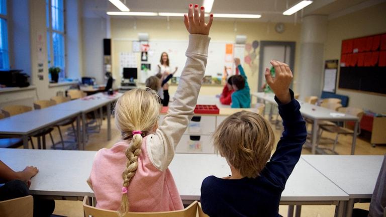Elever i åk 2 räcker upp handen på lektion. Foto: Jessica Gow/TT