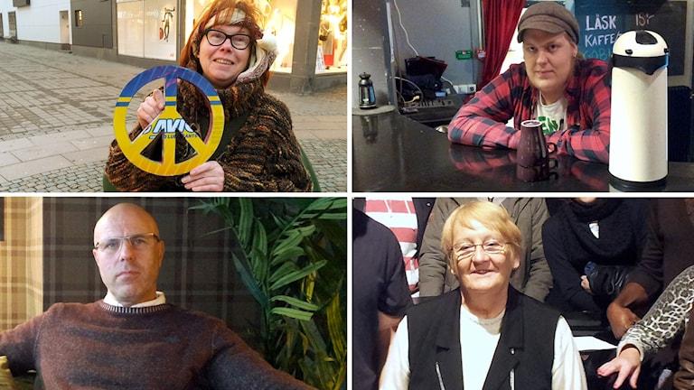 Kollage med alla fyra nominerade till Årets Västernorrlänning 2015, Pia Boija, Niklas Bjermqvist, Fredrik Olsson och Barbro Lundquist. Foton: SR