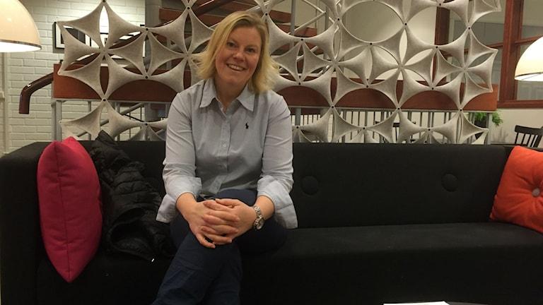 Gunilla Larsson är stafettgäst. Foto: Niklas Axelsson/Sveriges Radio