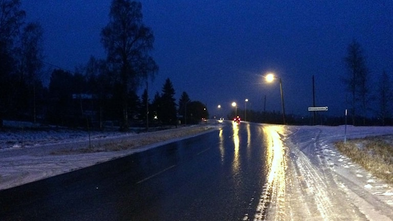 An icy street in Sundsvall Municipality. File Photo: Ingrid Engstedt Edfast / Swedish Radio.
