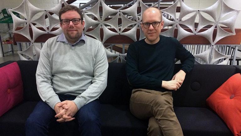 Statsvetaren Jon Nylén och Marcus Bohlin, ledarskribent vid Sundsvalls Tidning,.