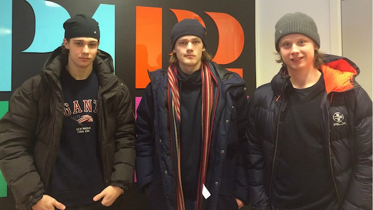 Simon Sjöberg, Marcus Siren och Jonathan Dahlén. Foto: Ingrid Engstedt Edfast/SR