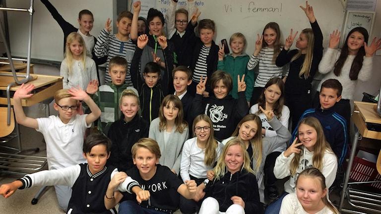 Klass 5c på Engelska skolan i Sundsvall som tävlar i Vi i femman Västernorrland 2016.