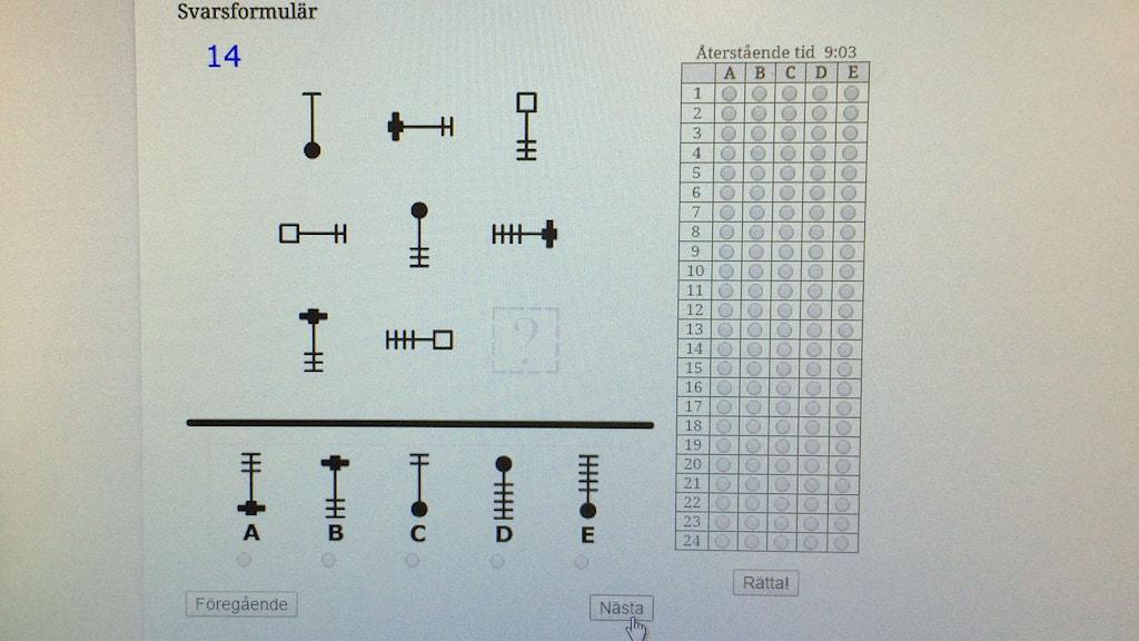 Provtest med symboler. Vilken är nästa symbol? Foto: Sveriges Radio