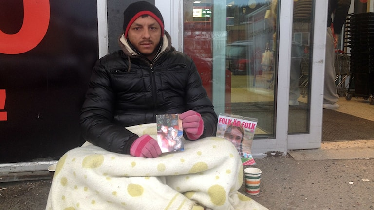 Alex, romsk tiggare i Sundsvall.