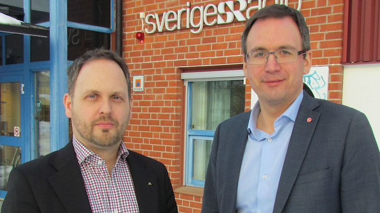 Jörgen Berglund (M) oppositionsråd i Sundsvall och Peder Björk (S) kommunalråd i Sundsvall. Foto: Agneta Jacobsson/SR