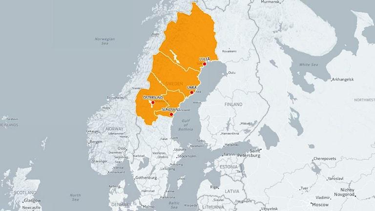 Karta över Sverige med Jämtland, Norrbotten, Västerbotten och Västernorrland markerat.