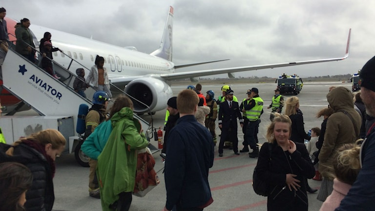 Plan som nödlandat i Stavanger. Foto: Ulla Öhman SR