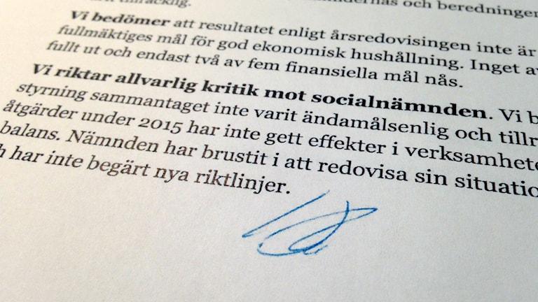 Revisionskritik mot socialnämnden i Sundsvall