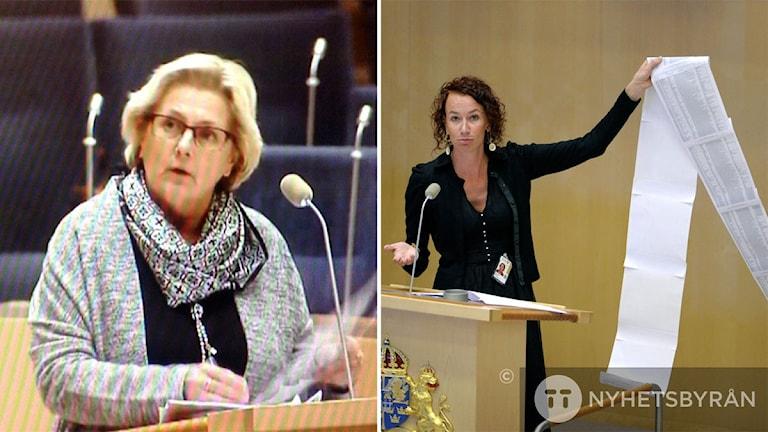 Lena Asplund (M) moderat riksdagsledamot och Christina Höj Larsen (V) riksdagsledamot Vänsterpartiet. Båda i debatt i riksdagens talarstol. Foto: Ulla Öhman/Sveriges Radio och Janerik Henriksson/TT