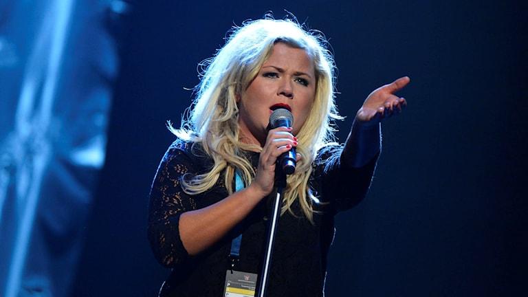 Artisten Linda Ström under ett genrep i Melodifestivalen 2013. Foto: Claudio Bresciani/TT