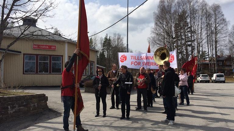 Första maj-tåg i Kamfors