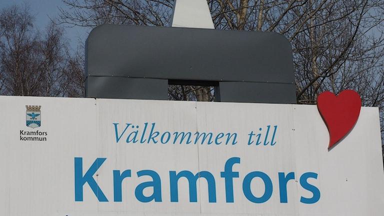 Välkommen till Kramfors, skylt vid infarten.