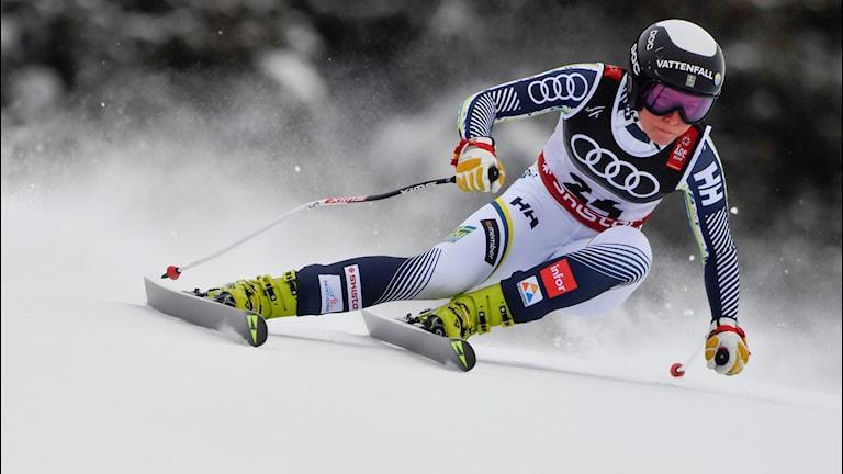Lisa Hörnblad under damernas störtlopp vid alpina VM i Åre 2019.