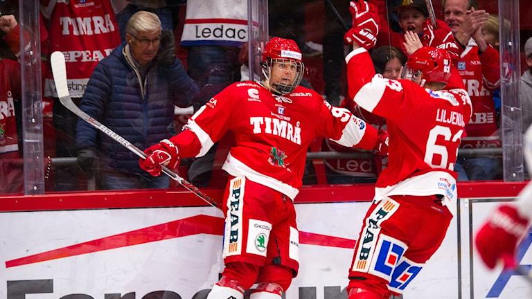 Timrås Filip Hållander jublar efter 3-0 målet under matchen i hockeyallsvenskan mot Vita hästen.