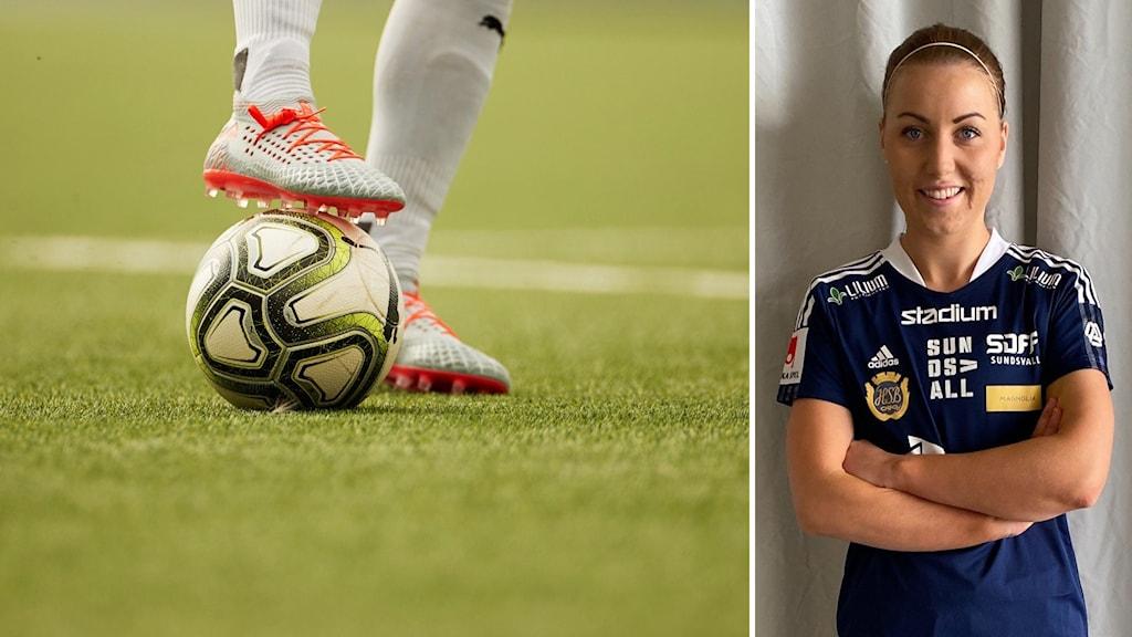 Två bilder. En med grön plan och fotboll + sko. En på kvinna i blåvita fotbollskläder