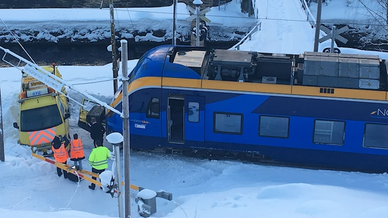 Tågkollision i Nedansjö. Foto: Susanne Helsing / SR