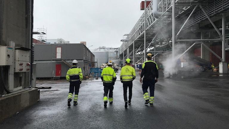 fyra personer som går på fabriksområde