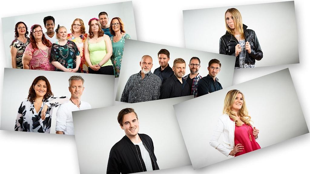 Collage av alla lokala finalister i Svensktoppen nästa 2016, P4 Västernorrland. Foto: Kristofer Lönnå/Sveriges Radio