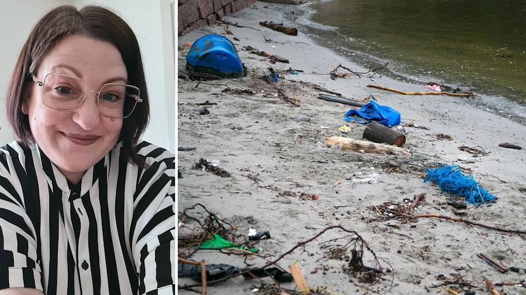Bildkollage. Till vänster: Porträtt på Sarah Nilsson. Till höger: Plasttunnor, rep, plast och annat skräp ligger på en sandstrand. Foto: Privat och Audun Braastad/TT (Arkivbild)