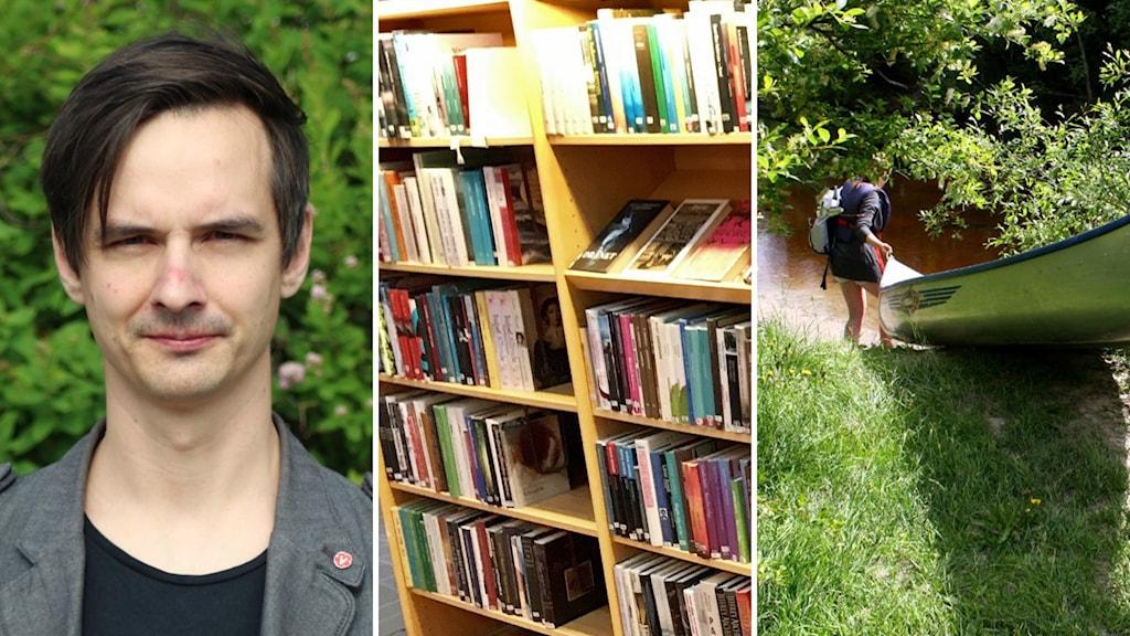 En bild på Niklas Evaldsson (V) en på en bibliotekshylla och en på ett barn som bär en kanot ner i vattnet.