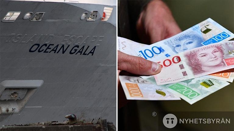 Bildkollage. Namnet Ocean Gala i svart på fartygsbogen. Foto: Sveriges Radio och Anders Wiklund/TT
