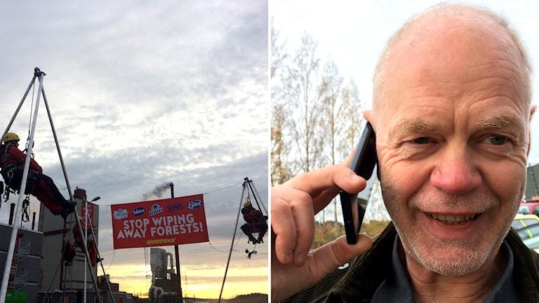 """Bildkollage: Greenpeace-aktivister hänger i linor med utspänd banderoll """"Stop Wiping away forests!"""" och Björn Lyngfeldt, kommunikationsdirektör vid SCA. Foto: Sveriges Radio"""