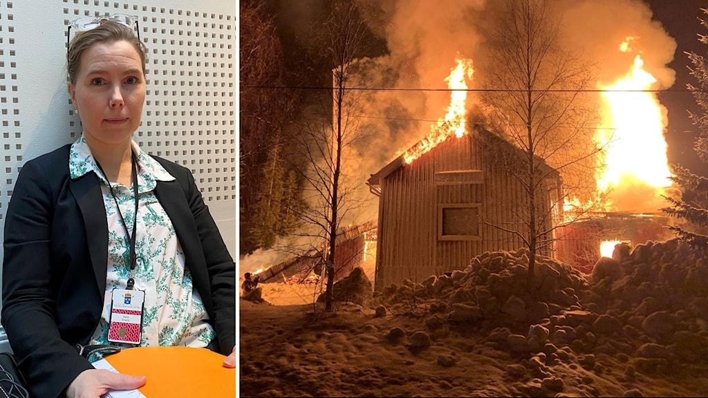Bildkollage. Till vänster: Vice chefsåklagare Karin Everitt. Till höger: Stora lågor slår ut från IOGT-NTOs lokaler som blev totalförstörda i en brand som misstänks vara anlagd.