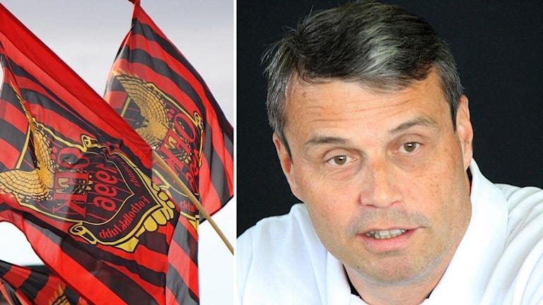 ÖFK-flaggor och Daniel Kindberg