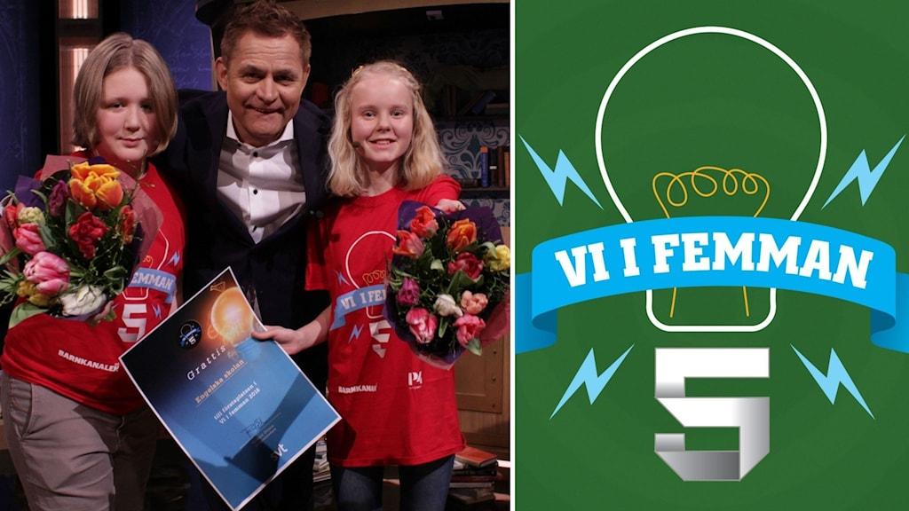 Bildkollage. Till vänster: Eilif och Alva på Engelska skolan i Sundsvall vann riksfinalen i Vi i femman 2018 och kramas om av programledaren Rickard Olsson. Båda håller i blombuketter och ett vinnardiplom. Till höger: Loggan för Vi i femman mot grön bakgrund.