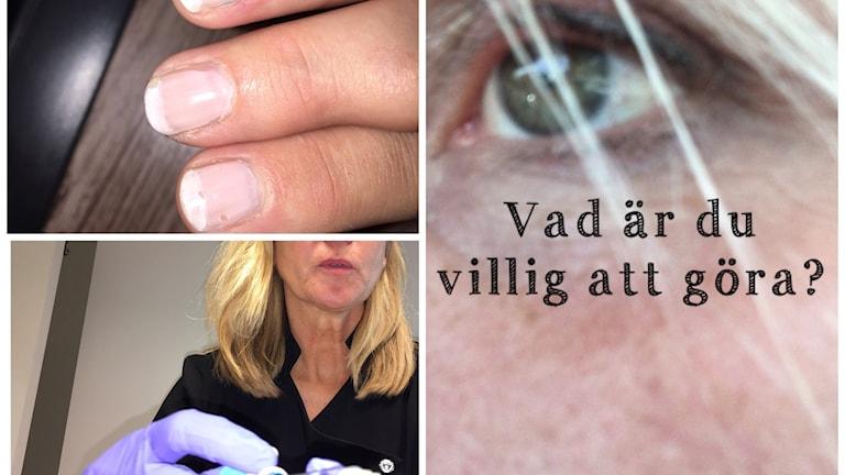 Collage med naglar, öga och sköterska