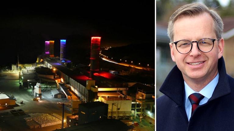 Bildkollage med en översiktsbild över Kubals fabriksområde på natten med skorstenarna lysande i olika färger. Till vänster: Näringsminister Mikael Damberg (S). Foto: Sveriges Radio