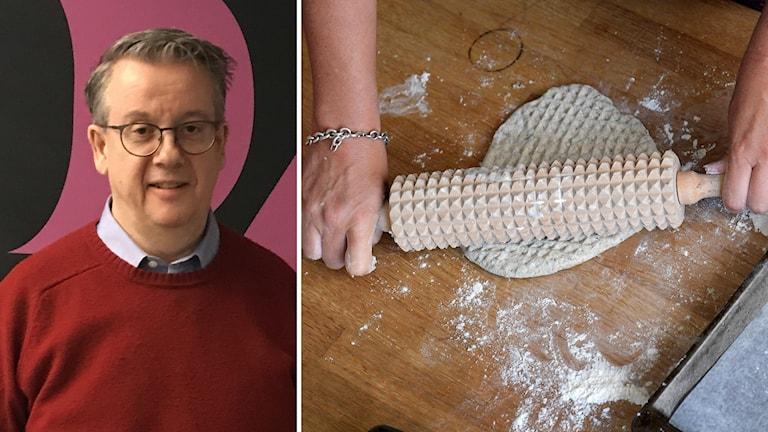 Montage, måltidsforskaren Richard Tellström och en brödkavel som kavlar deg.